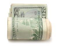 Roll of twenty dollar bills Royalty Free Stock Photo