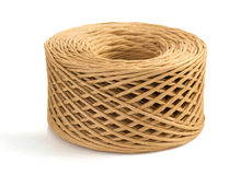 Roll of twine cord isolated on white Stock Photo