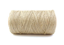 Roll of twine cord on white background stock images