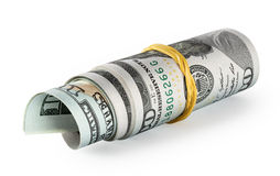 Roll twisted and tapered rubber band hundred dollar bills Stock Photos