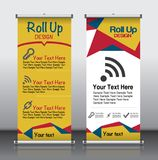 Roll up banner_1. Roll up brochure flyer banner design template , abstract triangle pattern background, modern x-banner, rectangle size royalty free illustration