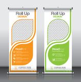 Roll up banner_1. Roll up brochure flyer banner design template , abstract triangle pattern background, modern x-banner, rectangle size Stock Photography