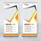 Roll up banner design template, vertical, abstract background, pull up design, modern x-banner, rectangle size. Roll up banner for your company or business stock illustration