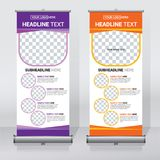 Roll up banner design template, vertical, abstract background, pull up design, modern x-banner, rectangle size. Roll up banner for your company or business royalty free illustration