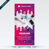 Roll Up Banner Flat Design Color. Modern royalty free illustration
