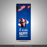 Roll Up Banner. Fourth of july independence day of the usa. Holiday background with patriotic american signs - president. `s hat, balloons, stars and stripes Stock Images