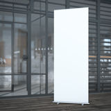 Roll up banner near cafe. 3d rendering Stock Images