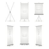 Roll up banner. Projector screen and roll up banner illustration on white background Royalty Free Stock Image
