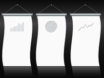 Roll up banner set with charts and diagrams. Roll up banners with gray charts and diagrams Royalty Free Stock Image