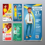 Roll Up Stand Set Vector. Vertical Flag Blank Design. Businessman And Business Woman. For Business Conference Vector Illustration