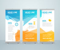 Roll Up Banner Stand Design. Vector. Roll Up Banner Stand Design with Abstract Geometric Colorful Bubble Speech. Vector illustration Stock Photos