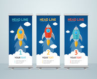 Roll Up Banner Stand Design. Vector Stock Images