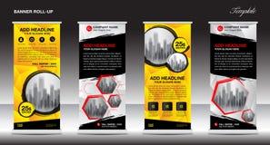 Roll up banner stand design, Vector illustration, polygon backgr Stock Image