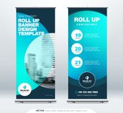 Roll Up banner stand presentation concept. Corporate business roll up template background. Vertical template billboard. Roll Up banner stand. Presentation stock illustration