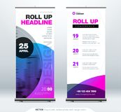 Roll Up banner stand presentation concept. Corporate business roll up template background. Vertical template billboard. Roll Up banner stand. Presentation royalty free illustration