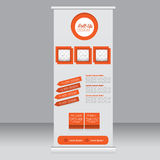 Roll up banner stand template. Abstract background for design,  business, education, advertisement.  Orange color. Vector  illustr Stock Photography