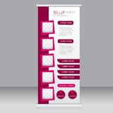 Roll up banner stand template. Abstract background for design,  business, education, advertisement. Pink color. Vector  illustrati Stock Photos