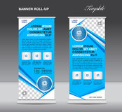 Roll up banner stand template, banner template,advertisement,flyer template,blue Roll up design vector illustration