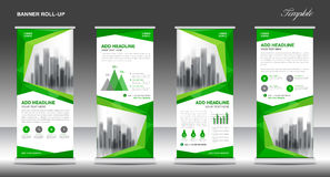 Roll up banner stand template design, Green banner layout, ads Stock Images
