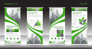 Roll up banner stand template design, Green banner layout, ads Royalty Free Stock Photography