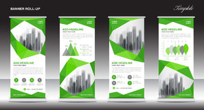 Roll up banner stand template design, Green banner layout Stock Image