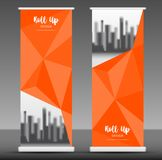 Roll up banner stand template design, Orange polygon Royalty Free Stock Photos