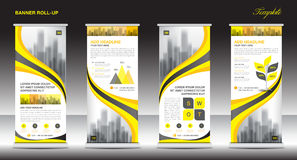 Roll up banner stand template design, Yellow banner layout. Advertisement, pull up, polygon background, vector illustration, business flyer, display, x-banner stock illustration