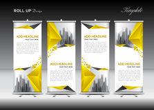 Roll up banner stand template design, Yellow banner layout, stock illustration