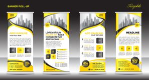 Roll up banner stand template design, Yellow banner layout Stock Images
