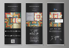 Roll up banner stands, abstract design geometric style templates, corporate vertical vector flyers, flag layouts. Tribal Royalty Free Stock Photography