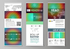 Roll up banner stands, abstract geometric style templates, corporate vertical vector flyers, flag layouts. Minimalistic Royalty Free Stock Images