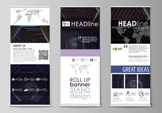 Roll up banner stands, corporate vertical vector flyers, flag layouts. Abstract polygonal background with hexagons. Set of roll up banner stands, flat design Royalty Free Stock Photo