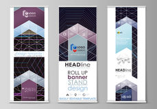 Roll up banner stands, corporate vertical vector flyers, flag layouts. Abstract polygonal background with hexagons. Set of roll up banner stands, flat design Royalty Free Stock Image