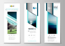 Roll up banner stands, flat design, abstract geometric templates, modern business layouts, corporate vertical vector Royalty Free Stock Photos