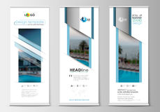 Roll up banner stands, flat design, abstract geometric templates, modern business layouts, corporate vertical vector Royalty Free Stock Images