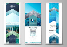 Roll up banner stands, flat design, abstract geometric templates, modern business layouts, corporate vertical vector Stock Photos