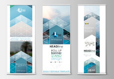 Roll up banner stands, flat design, abstract geometric templates, modern business layouts, corporate vertical vector vector illustration