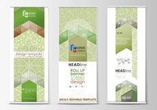 Roll up banner stands, flat design templates, abstract geometric style, vertical flyers, flag layouts. Green color. Set of roll up banner stands, flat design Stock Photo