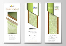 Roll up banner stands, flat design templates, abstract geometric style, vertical flyers, flag layouts. Green color. Set of roll up banner stands, flat design Stock Images