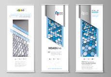 Roll up banner stands, flat design templates, business concept, corporate vertical vector flyers, flag layouts. Blue and Stock Image