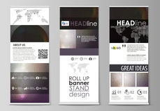 Roll up banner stands, flat design templates, business concept, corporate vertical vector flyers, flag layouts. Dark. Color triangles, colorful circles Stock Illustration