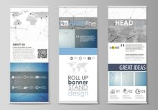 Roll up banner stands, flat design templates, geometric style, vertical vector flyers, flag layouts. Geometric blue vector illustration