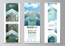 Roll up banner stands, flat design templates, vertical vector flyers, flag layouts. Colorful background, triangular  Stock Photography