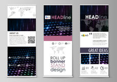 Roll up banner stands, flat style templates, modern concept, corporate vertical flyers, flag layouts. Abstract colorful Royalty Free Stock Photo