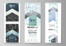 Roll up banner stands, flat templates, abstract geometric style, corporate vertical flyers, flag layouts. Soft color Royalty Free Stock Image