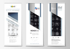 Roll up banner stands, flat templates, geometric style, corporate vertical vector flyers, flag layouts. High tech Royalty Free Stock Photo
