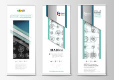 Roll up banner stands, flat templates, geometric style, corporate vertical vector flyers Stock Photo