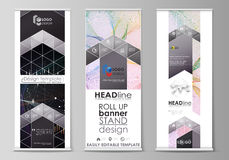 Roll up banner stands, geometric design templates, business concept, corporate vertical vector flyers, flag layouts Stock Photos