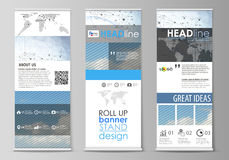 Roll up banner stands, geometric design templates, business concept Royalty Free Stock Image