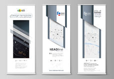 Roll up banner stands, geometric design templates, business concept Stock Images